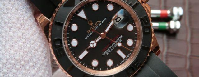 Noob Factory Replica Rolex Yacht-Master Everose gold V7 Edition 116655-Oysterflex bracelet Watch