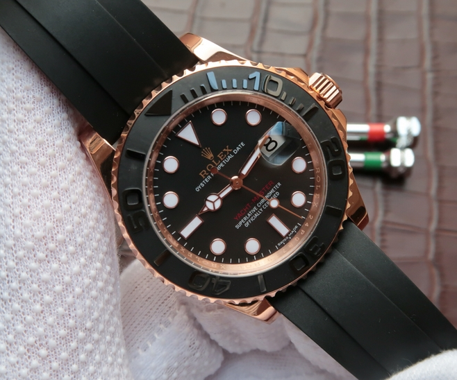 Noob Factory Replica Rolex Yacht-Master Everose gold V7 Edition 116655-Oysterflex bracelet Watch