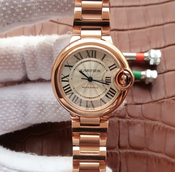Noob Factory Replica Cartier Ballon Bleu 33mm Rose Gold Ladies Watch