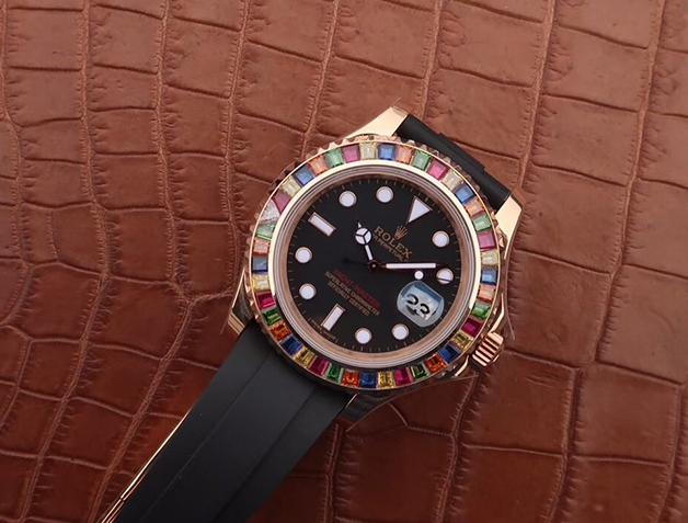 Noob Factory Replica Rolex Yacht-Master 40 Rose Gold Rainbow Watch Review