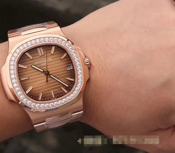 Noob Factory Replica Patek Philippe Nautilus Rose Gold Diamonds 5711/1R